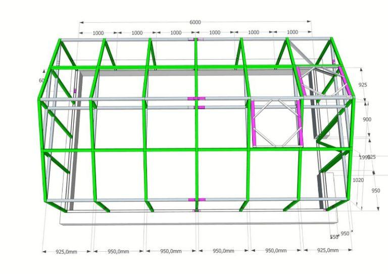 Строительство теплицы начинается с размеров, построения на основе предварительного чертежа