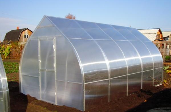 Для облицовки каркаса лучше всего подходят листы поликарбоната с прозрачной матовой поверхностью и достаточно гибкой структурой