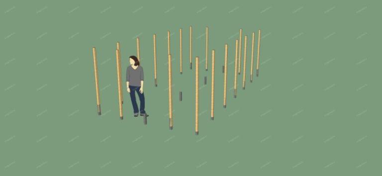 По периметру будущей конструкции устанавливают стойки из брусьев сечением 10 х 10 см и длинной 2,15 м
