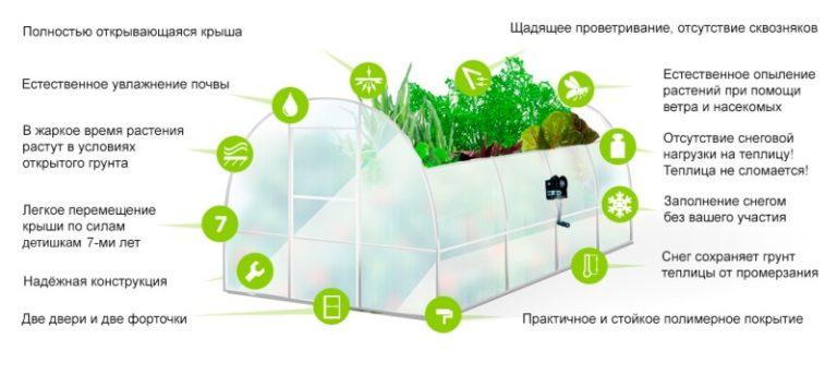 Производитель, завод Металл-Сервис, разработал конструкцию теплицы с полностью открывающейся крышей