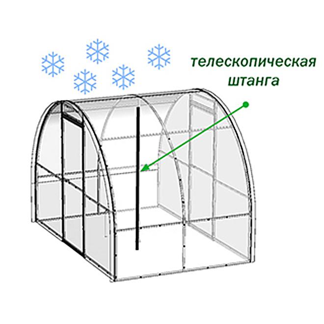 Чтобы придать теплице дополнительную устойчивость в зимние периоды, производитель предлагает использовать специальную телескопическую штангу