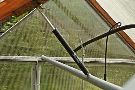 Чтобы уберечь растения от резких перепадов температур, хозяева участков монтируют автоматическое открывание форточек в теплице