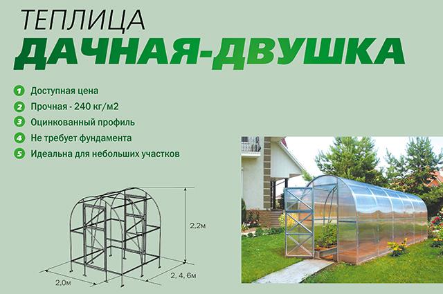 В стандартный комплект входят элементы каркаса, крепежа к нему и покрытие из поликарбоната