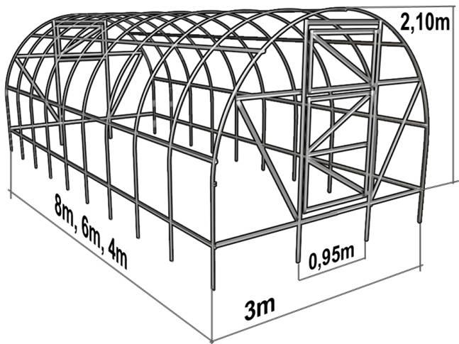 Теплицы из поликарбоната своими руками чертежи размеры