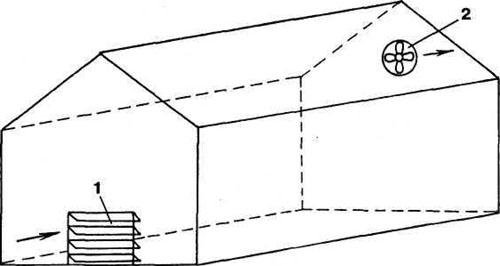 Проветривание теплиц осуществляется по принципу отведения горячего и влажного воздуха